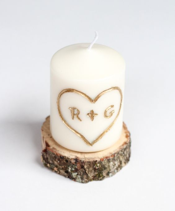 Diy candle carved with intials