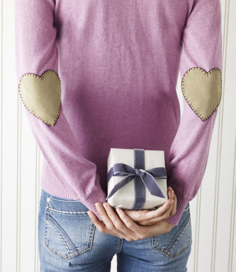 Diy heart shaped elbow patch sweater