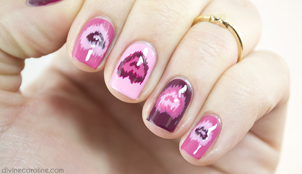 Diy ikat heart nails