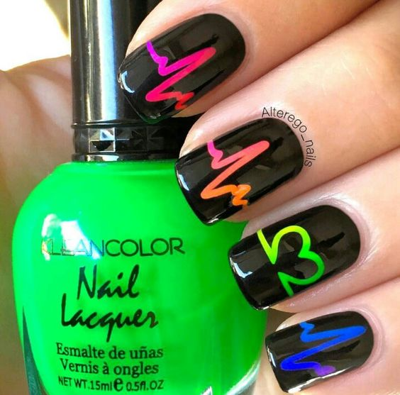 Diy neon heartbeat nail design
