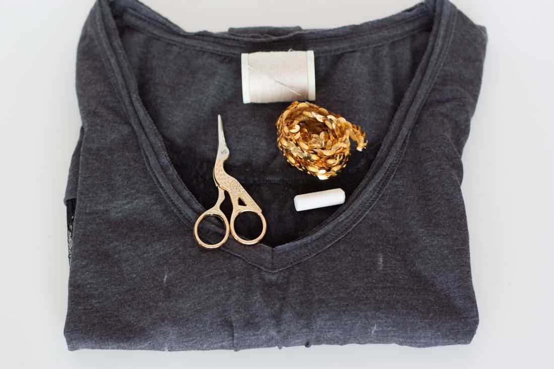 Diy valentines love sequin shirt supplies
