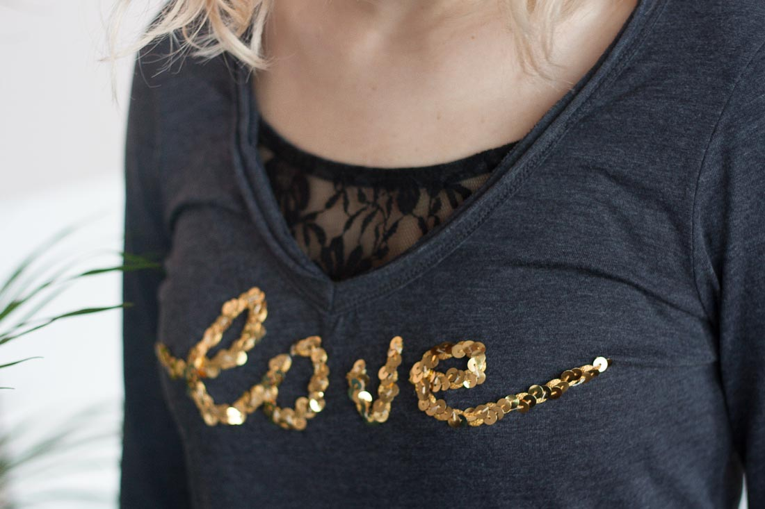 Diy valentines love sequin shirt wear