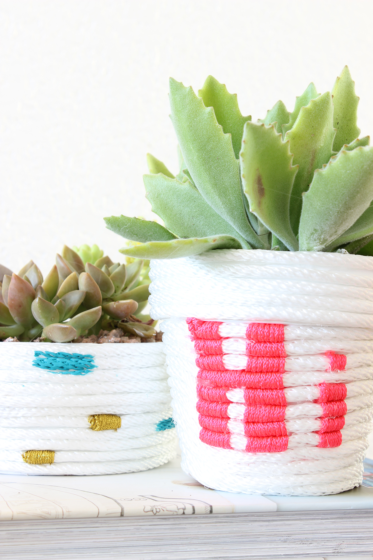 Embellished rope wrapped planters
