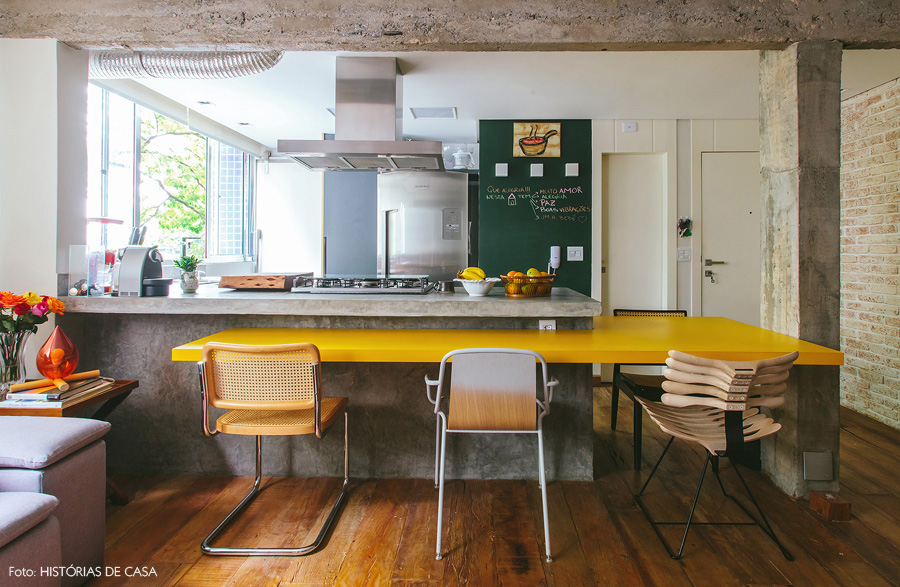Forest green mustard yellow kitchen