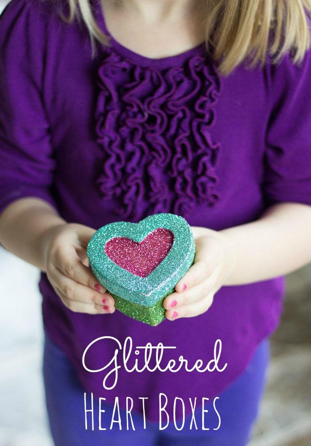 Glitter heart boxes diy