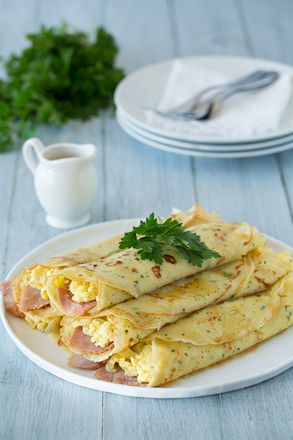 Herb crepes with eggs swiss ham and browned butter3+srgb