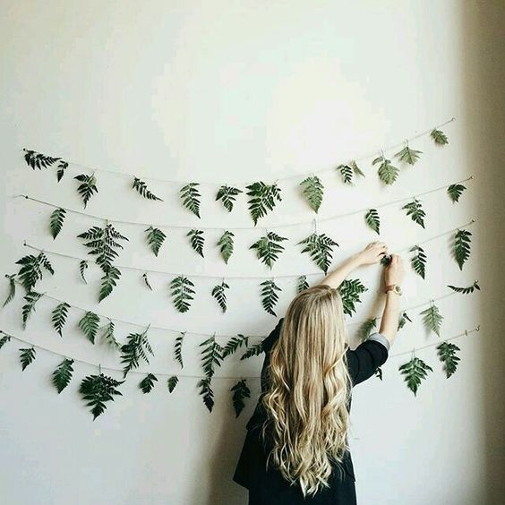 Leaf garlands on wall