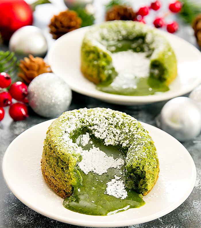 Matcha green tea molten lava cakes 13
