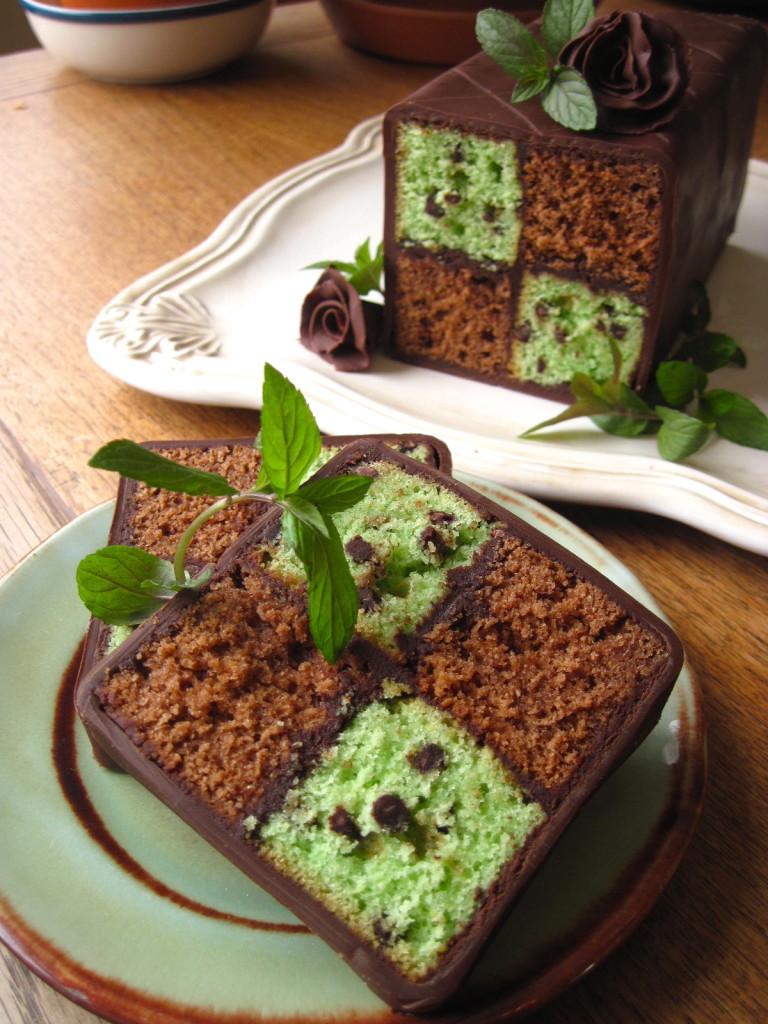Mint chocolate chip checkerboard cake