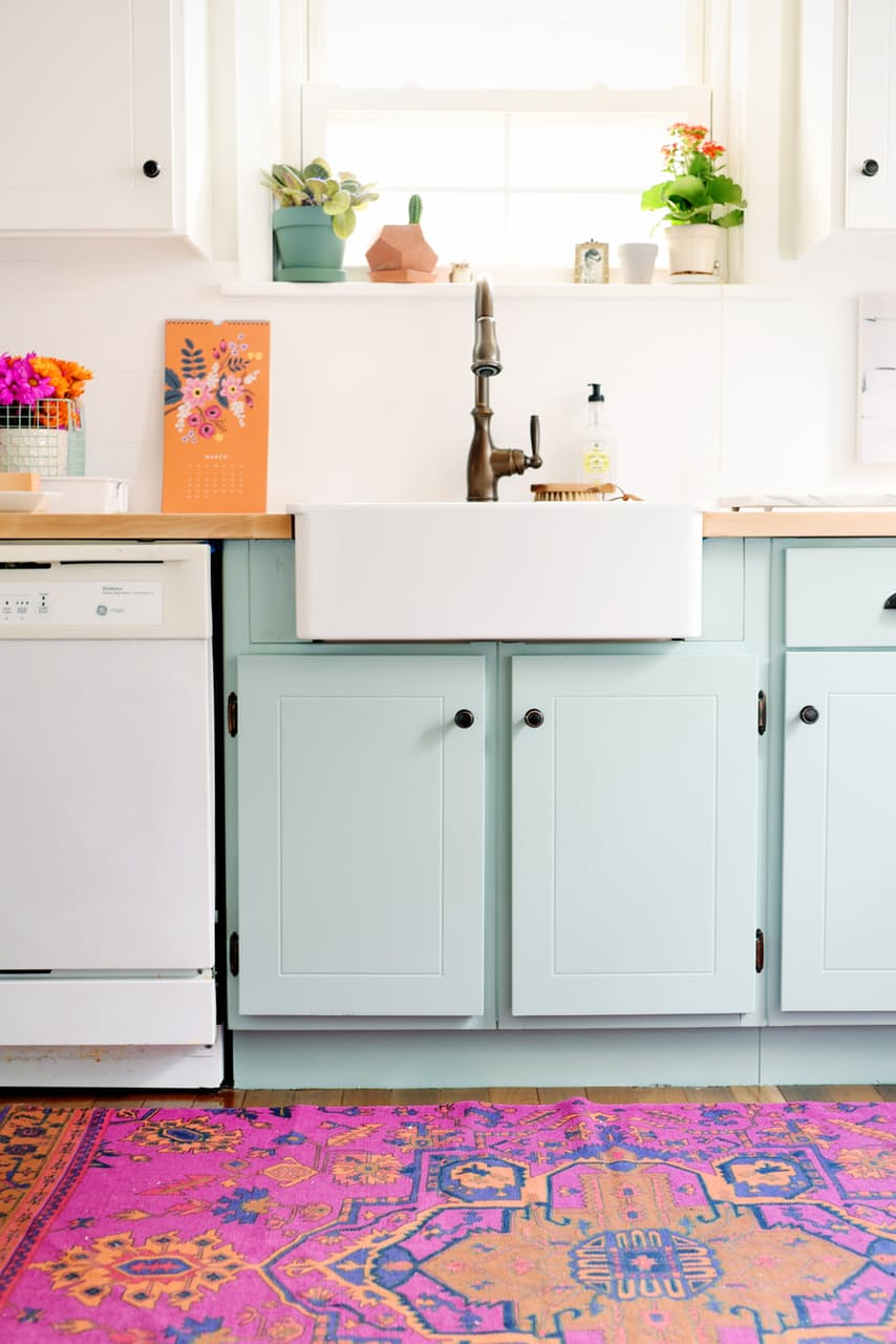 Mint green purple kitchen