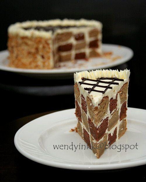 Mocha checkerboard cake