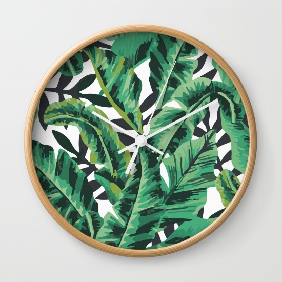 Modern leaf print clock