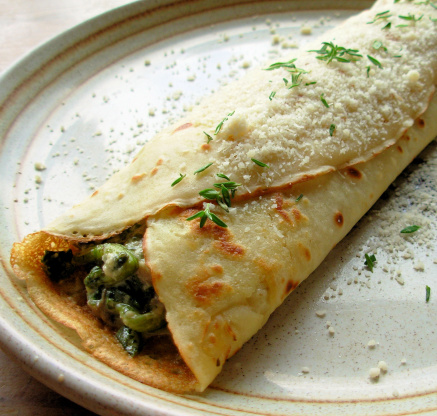 Mushroom spinach and cheese crepes