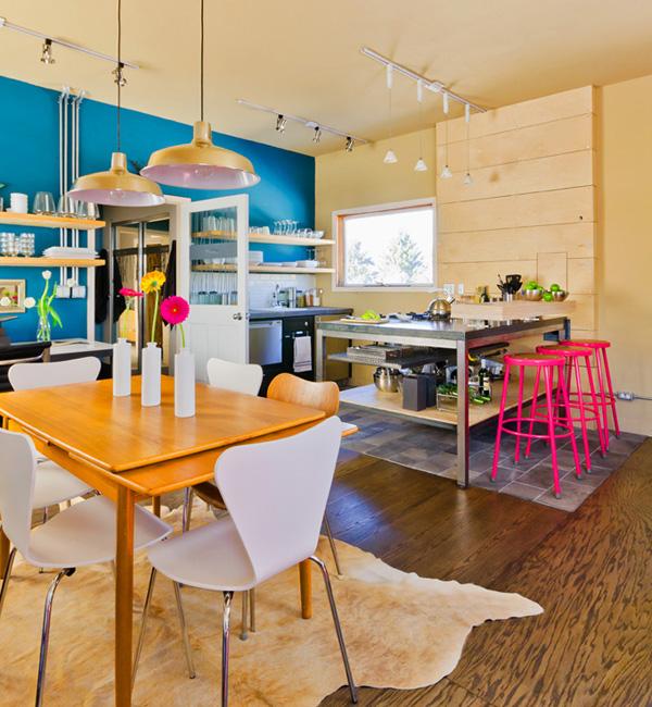 Neon stools blue wall