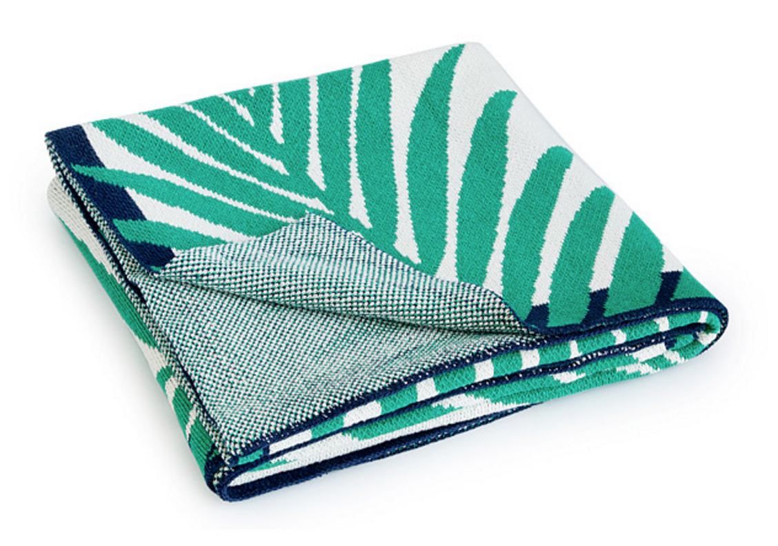 Palm leaf throw blanket