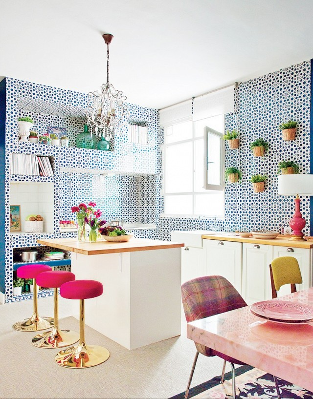 Patterned wall pink stools kitchen