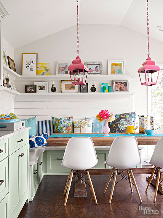 Pink mint green colorful kitchen