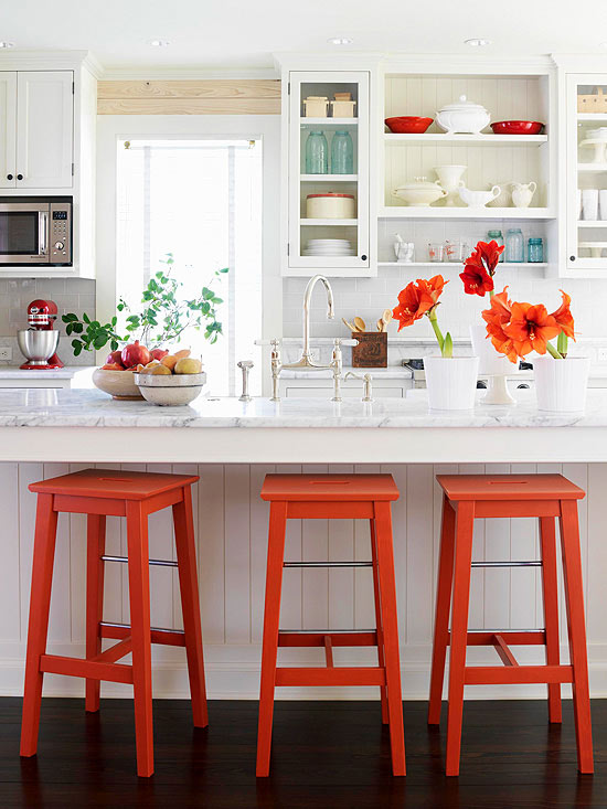 Pops of red orange kitchen
