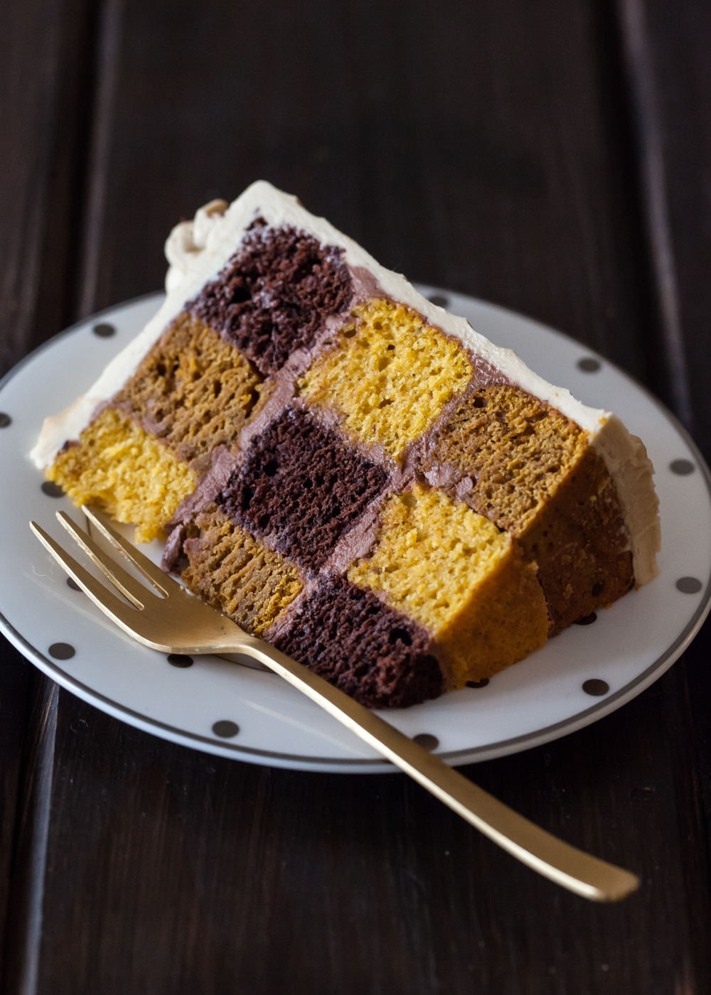 Pumpkin stout checkerboard cake