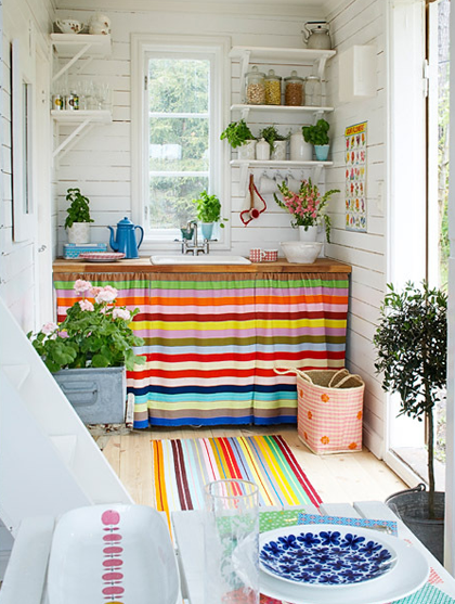 Striped colorful small kitchen