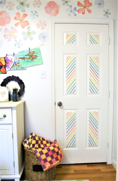 Striped washi tape door