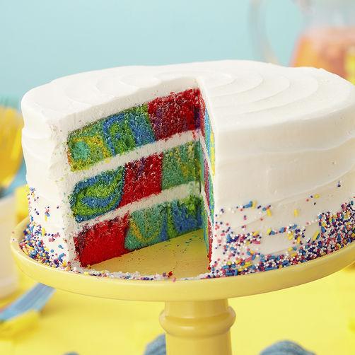 Tie dye checkerboard cake