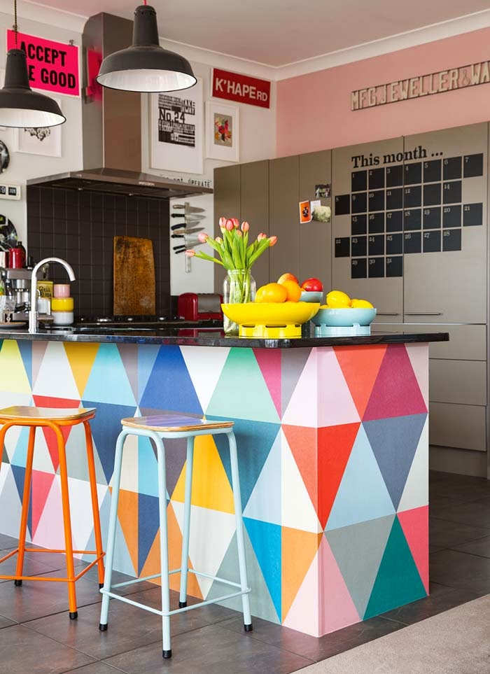 Triangle patterned kitchen island
