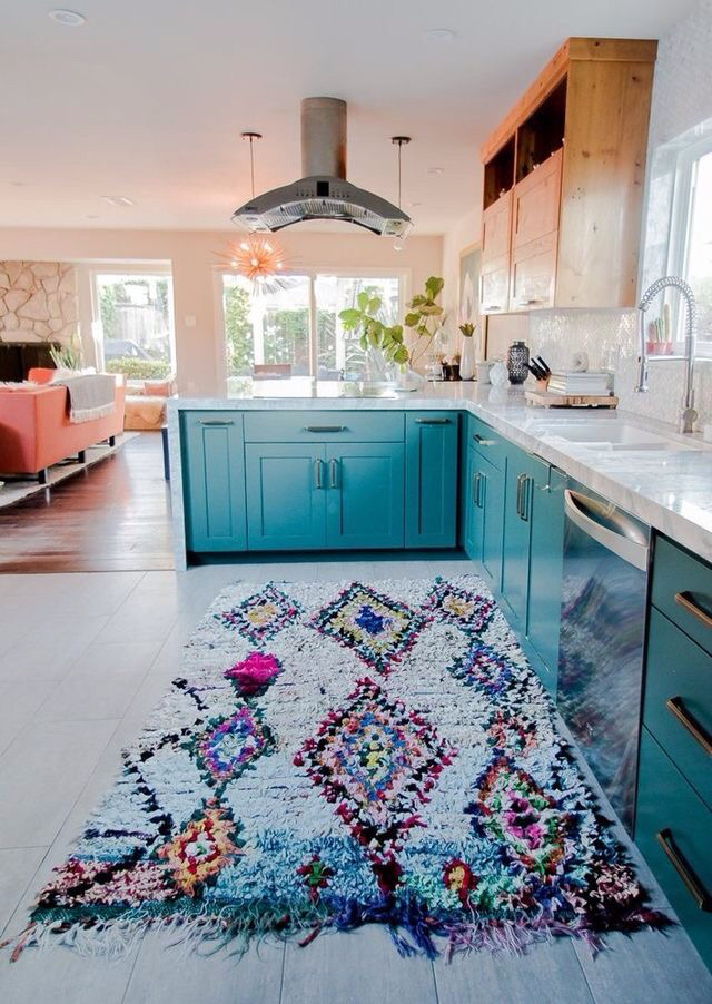 Turquoise and peach kitchen