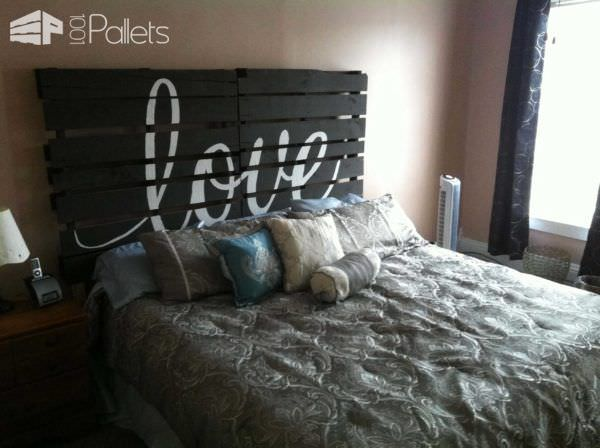Upcycled pallet bed headboard