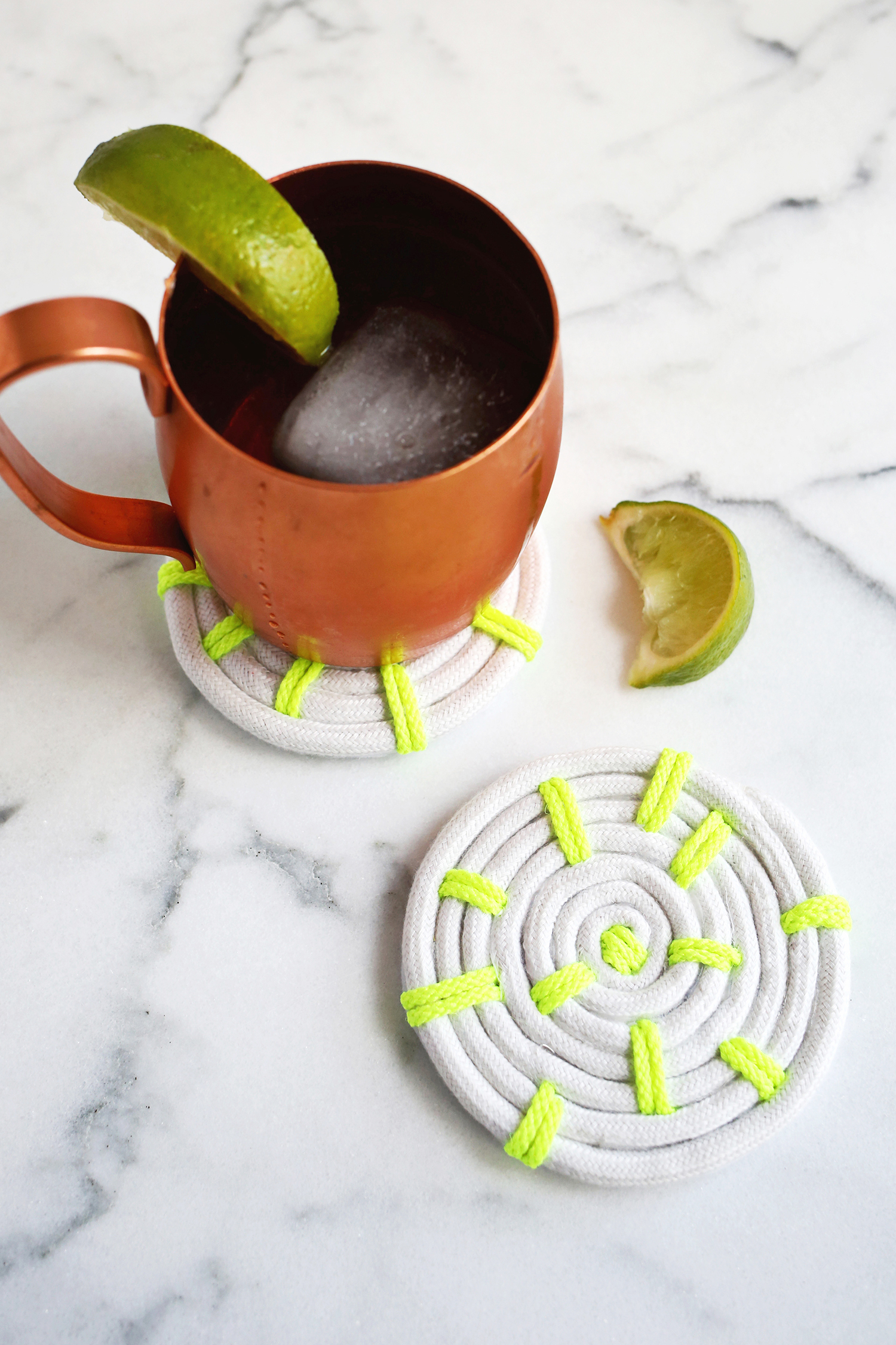 White and neon green rope coasters
