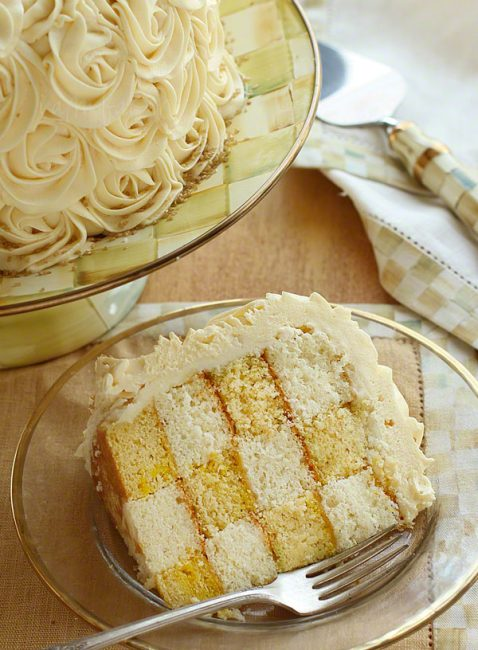 White and yellow checkerboard cake