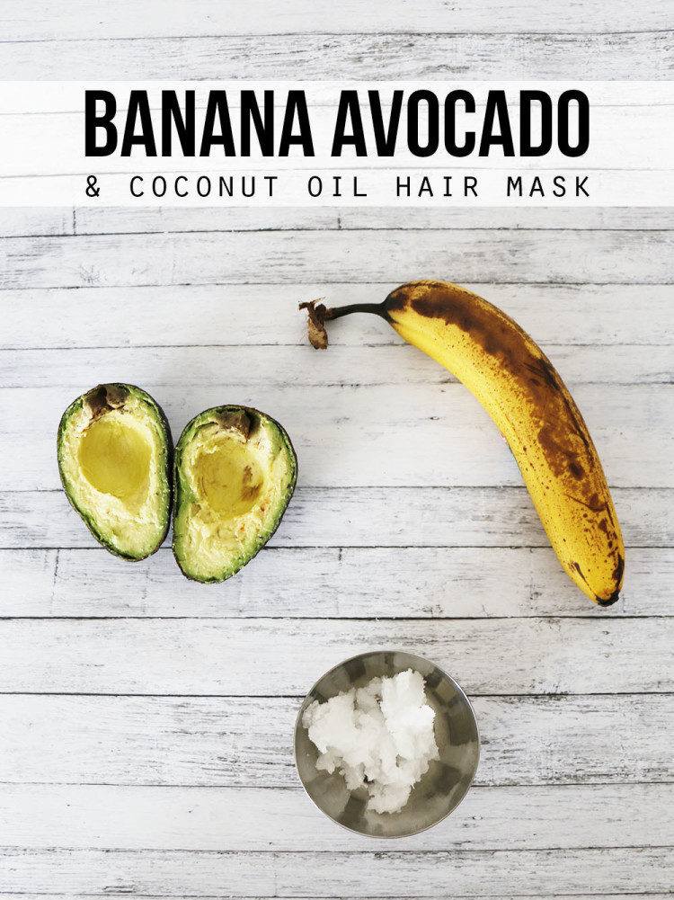 Banana avocado coconut oil hair mask