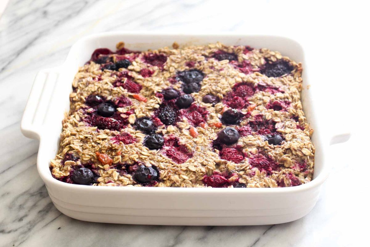 Banana berry baked oatmeal bake for 45 minutes