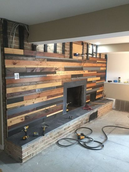 Blonde Wood Fireplace Makeover