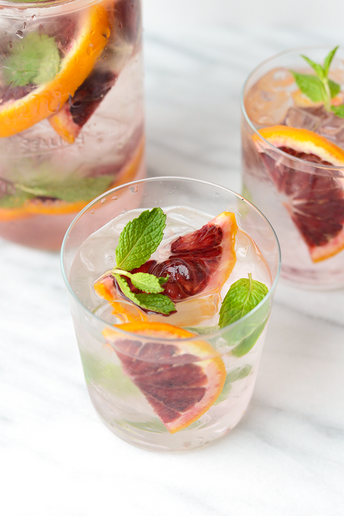 Blood orange mint infused water