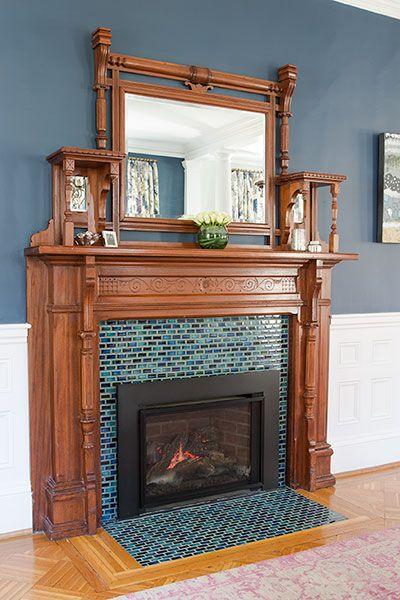 Blue tile design for fireplace makeover