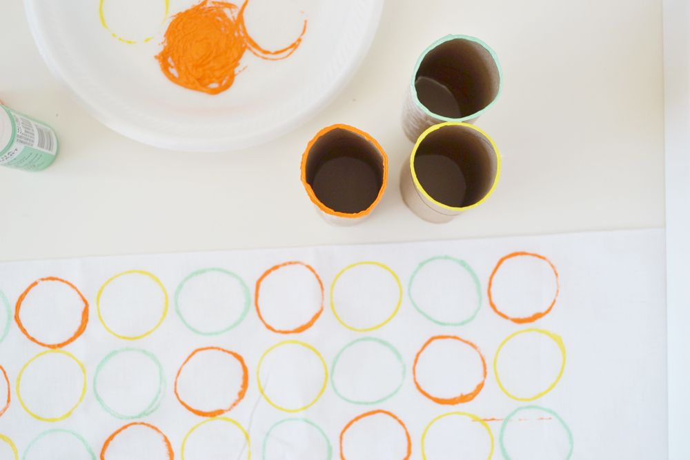 Circle stamped napkins circle colorful