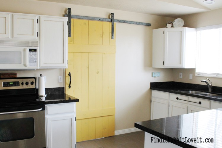 Diy barn door in the kitchen