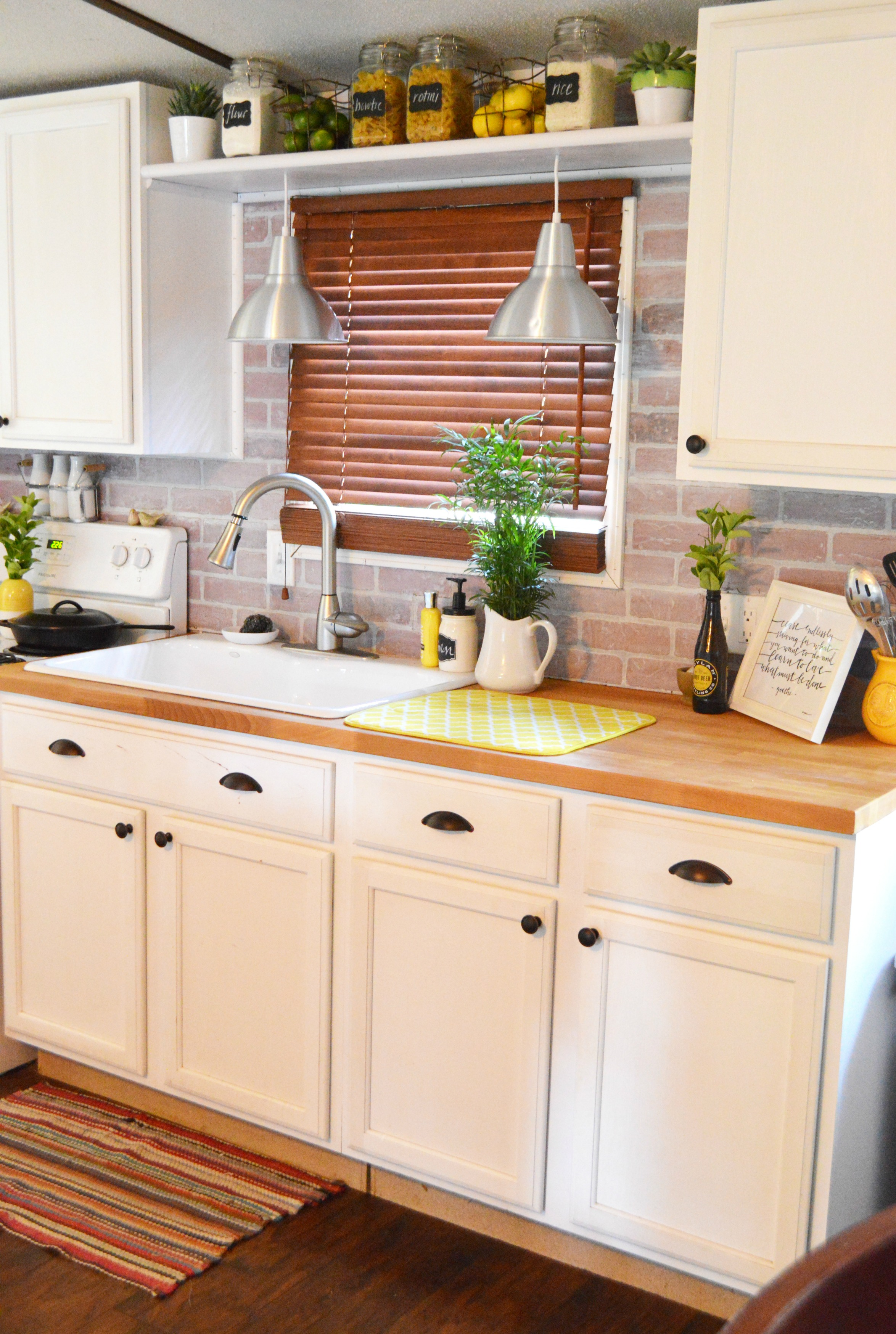 Diy raw brick backsplash