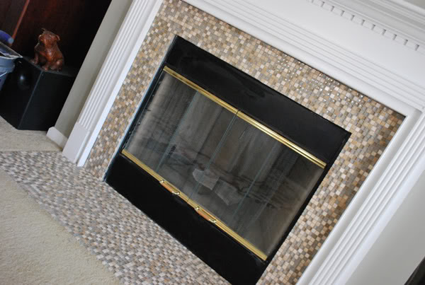 Diy mosaic tile fireplace