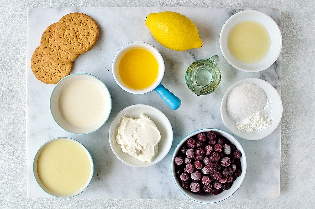 Easy, no-bake lemon blueberry cheesecake ingredients