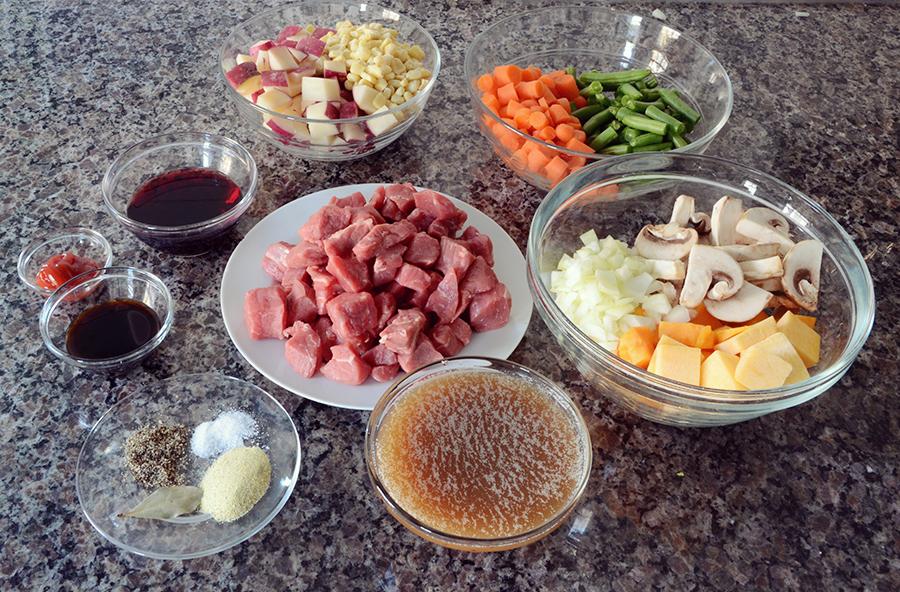 Freezer crockpot beef vegetable stew meal ingredients