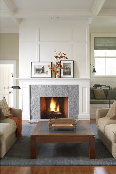 Gray Stone Fireplace Makeover Idea