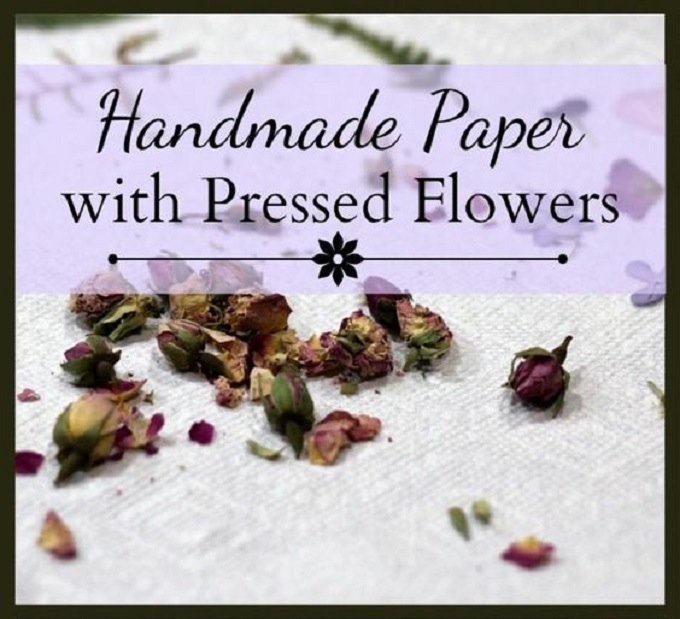 Handmade paper with pressed flowers
