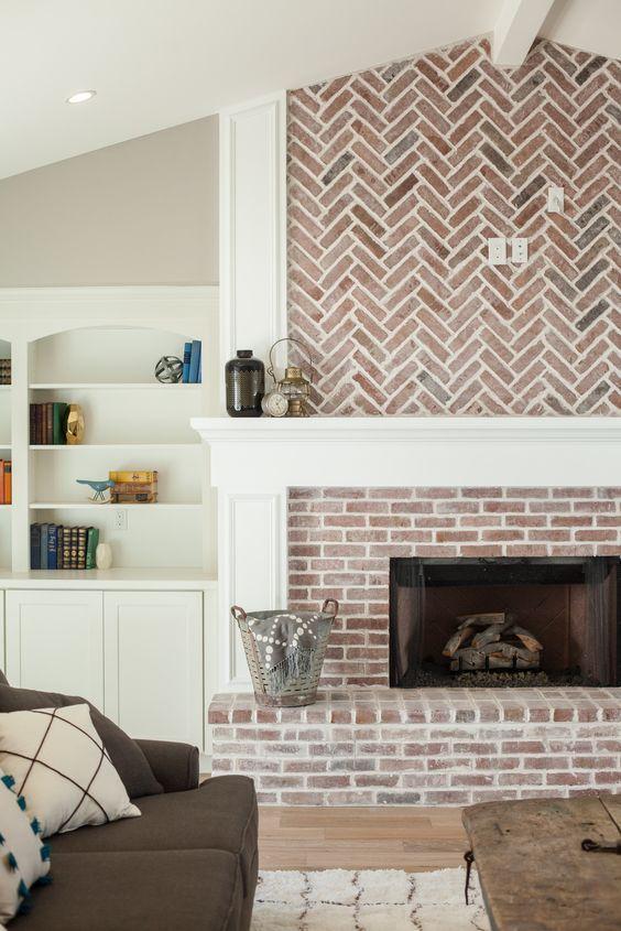 Herringbone pattern fireplace makeover