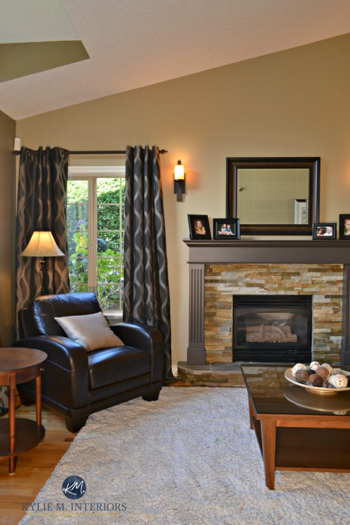 Ideas to update a fireplace with stone and painted mantel walls benjamin moore northampton putty kylie m interiors e decor 683x1024
