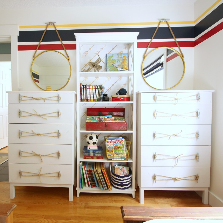Ikea tarva dresser hack nautical style with rope and dock cleat handles at thehappyhousie