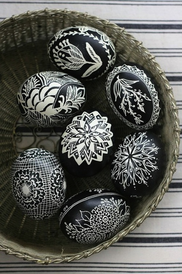 Intricate black and white eggs
