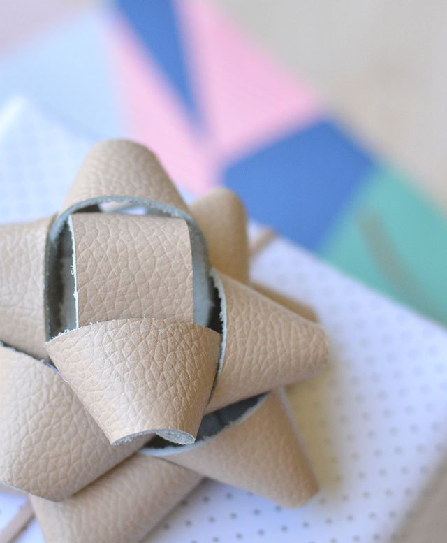 Leather gift wrap bow