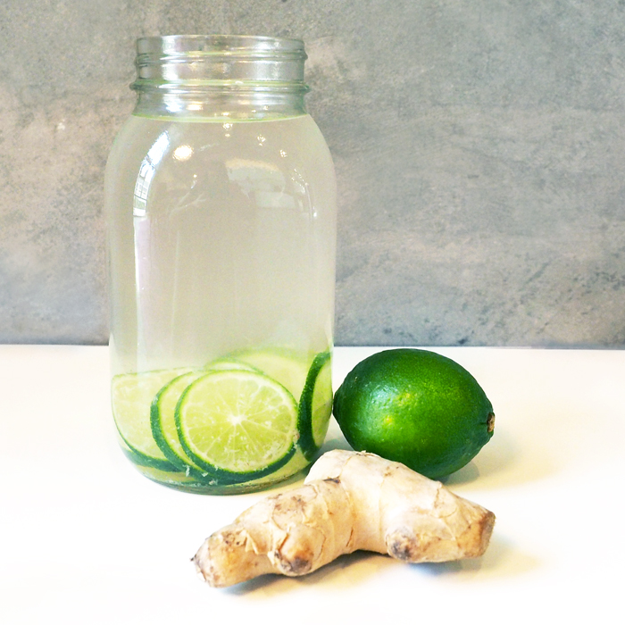 Lime ginger infused fruit water